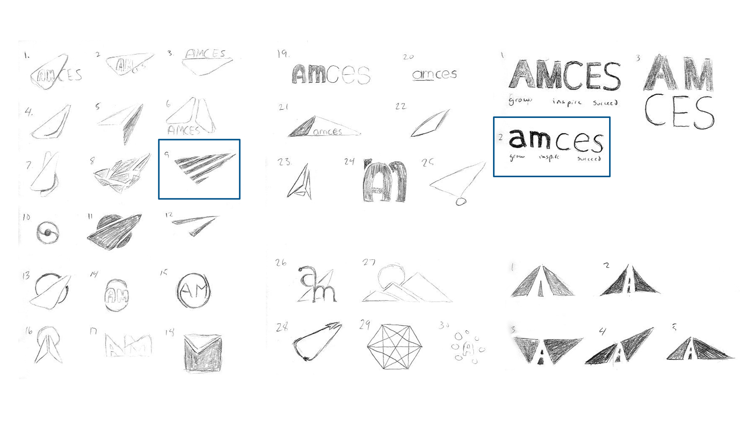 A collection of concepts from the initial round of logo sketches.
