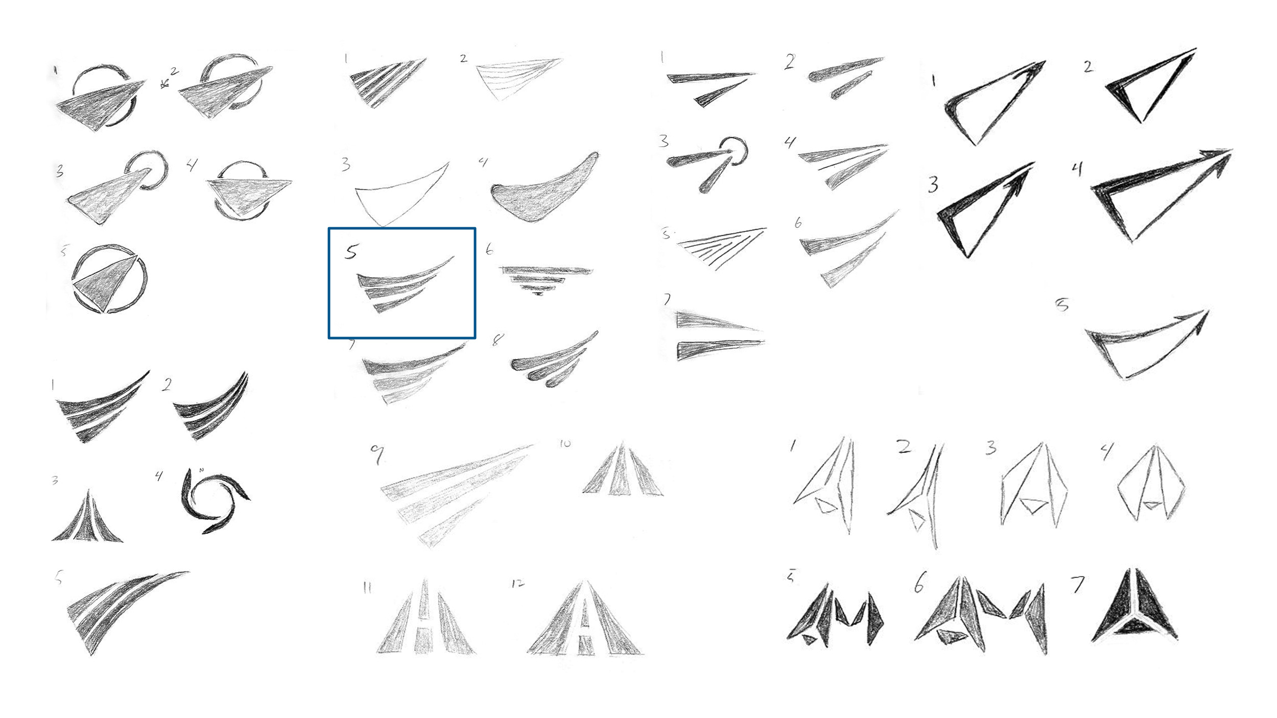 A collection of concepts from the second round of logo sketches.