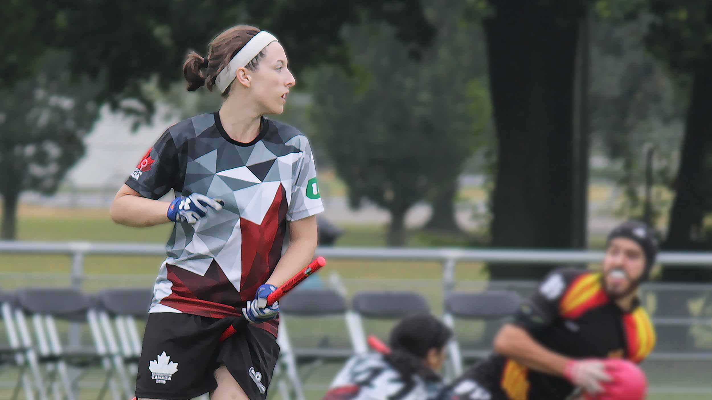 Photo of Quidditch Canada player in 2016 jersey.