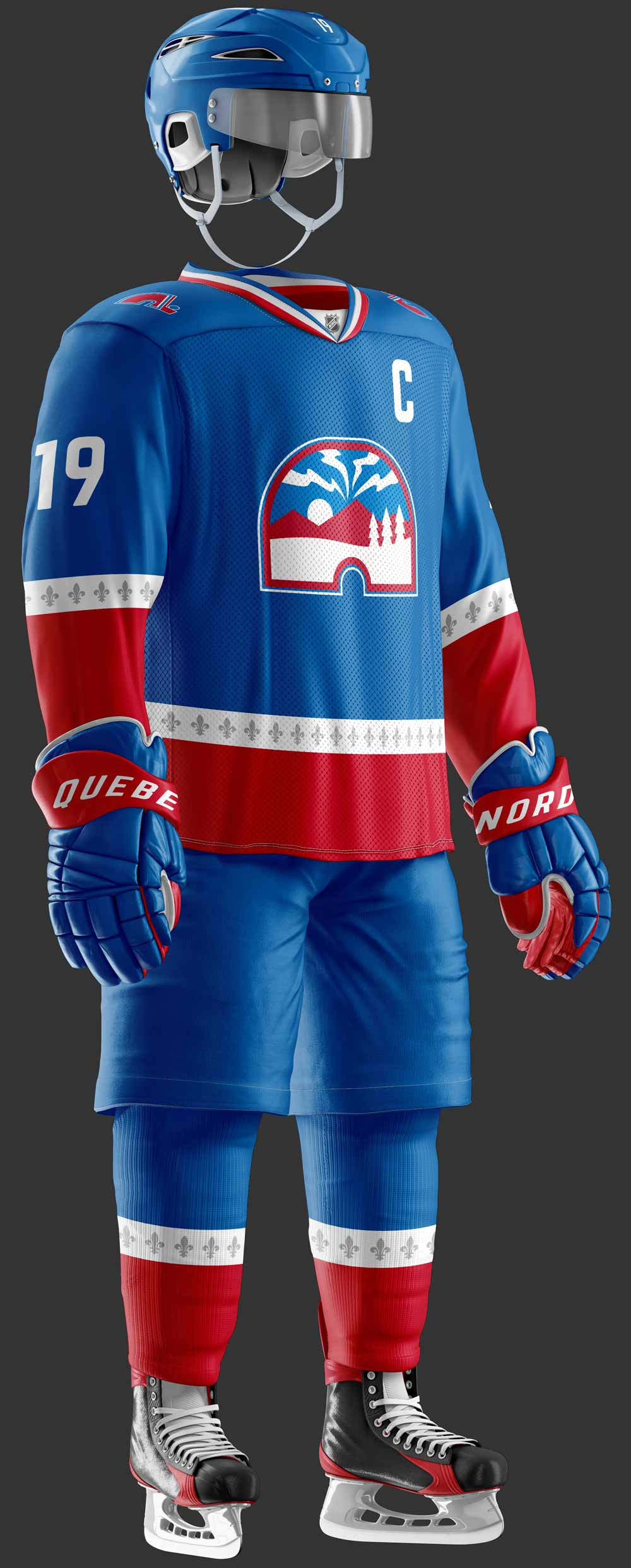 A mock up of the new Québec Nordiques jersey design.