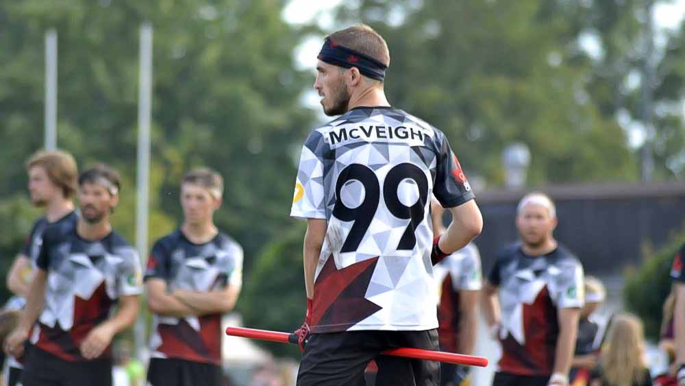Back view of Quidditch Canada player.