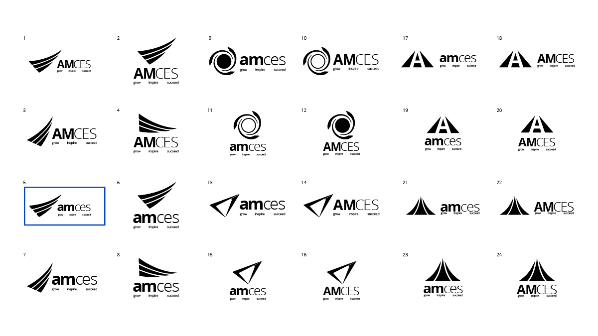 Digital versions of the final concepts of AMCES logos.