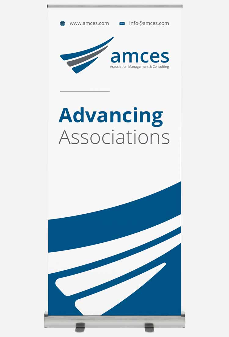 A stand up banner showing the AMCES branding.